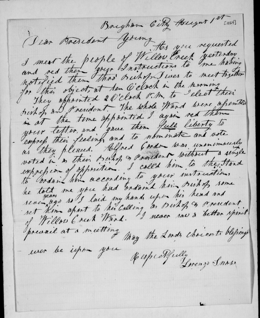 Lorenzo Snow Letter to Brigham Young 1859